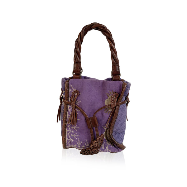 Maliparmi Violet Canvas Brown Leather Embroidered Small Handbag