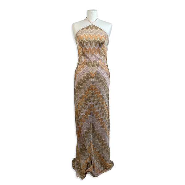 Missoni Beige Viscose Light Weight Knit Halterneck Maxi Dress Size 40