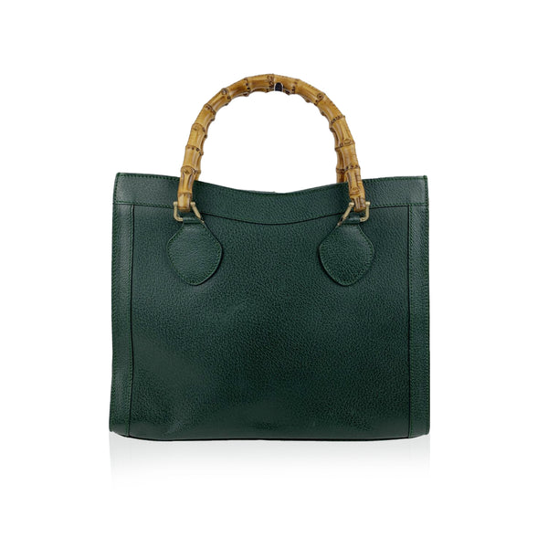 Gucci Vintage Green Leather Princess Diana Bamboo Tote Bag