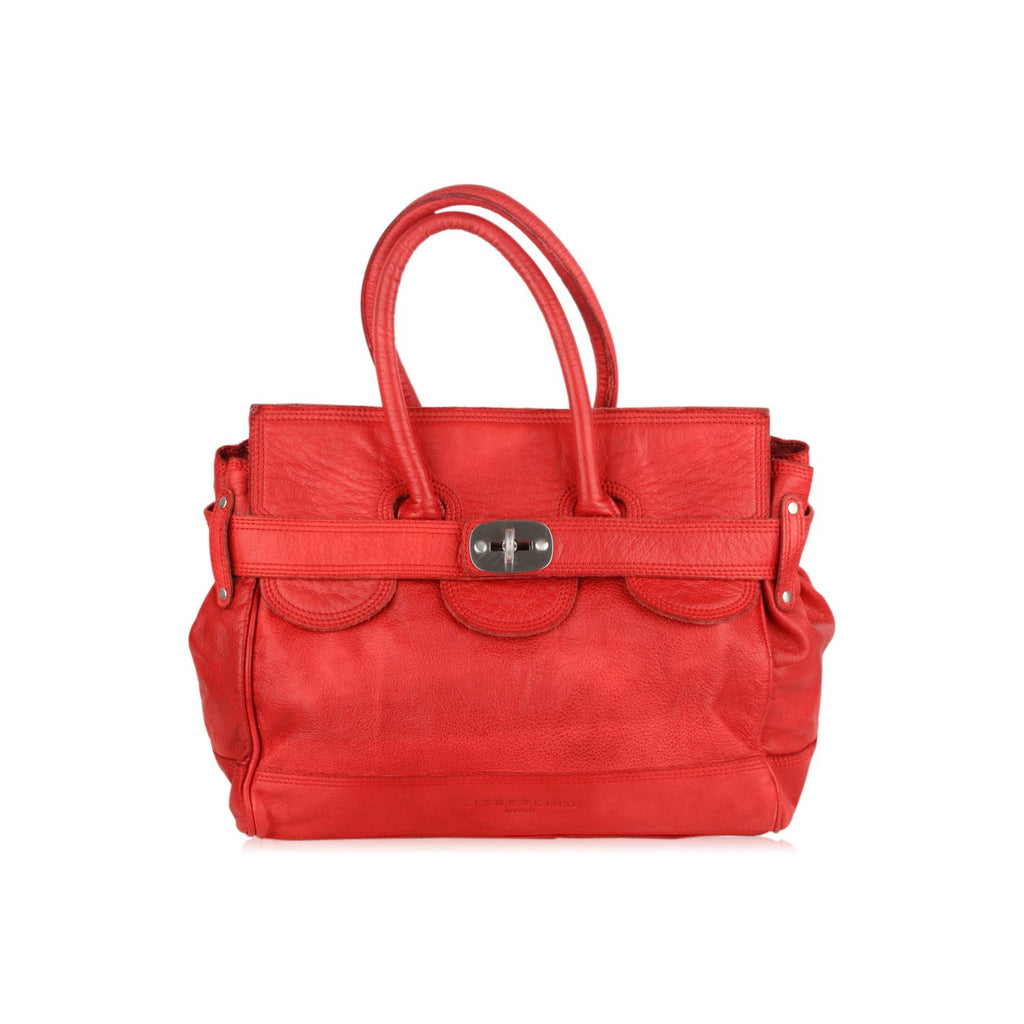 Liebeskind Berlin Red Leather Satchel Tote Bag