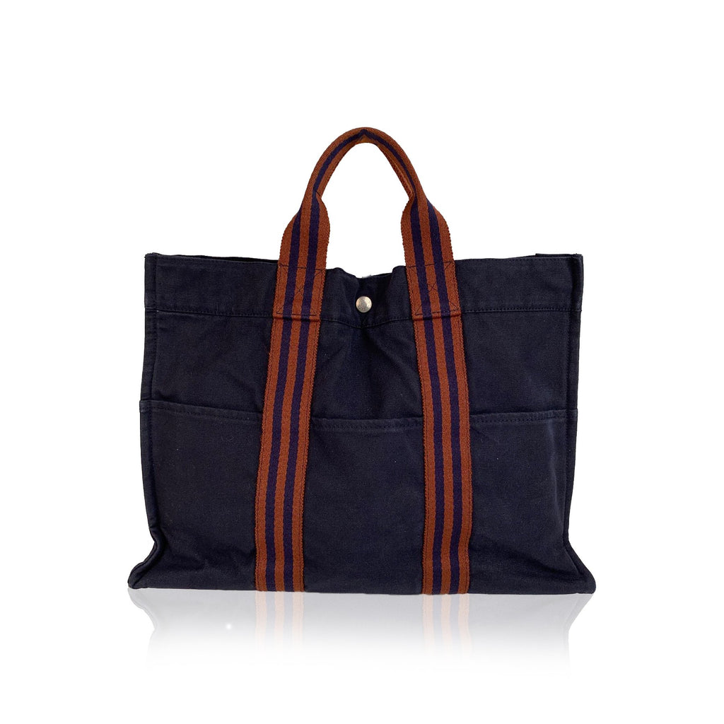 Hermes Paris Vintage Blue Cotton Tote Handbag Fourre Tout MM