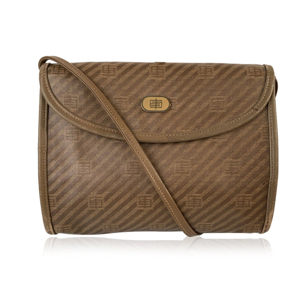 Emilio Pucci Vintage Tan Canvas Small Messenger Bag