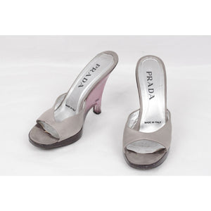 Prada Gray Satin Lucite Wedges Shoes Slides Sandals size 38.5 IT