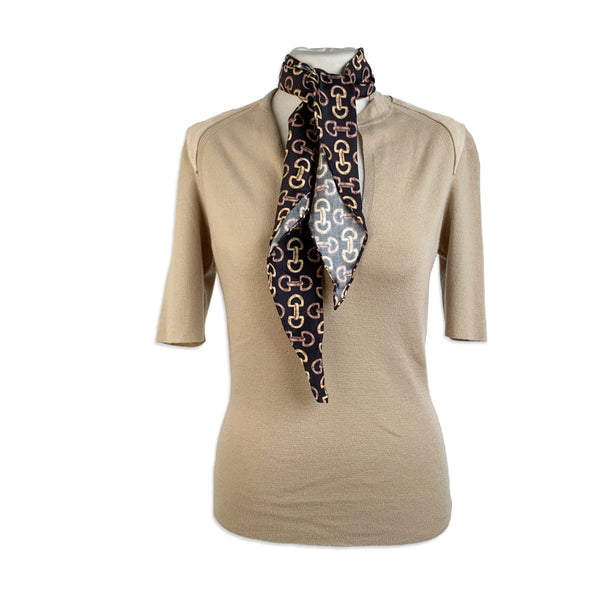 Gucci Beige Cashmere Short Sleeve Jumper Top with Scarf Size S - OPHERTY & CIOCCI