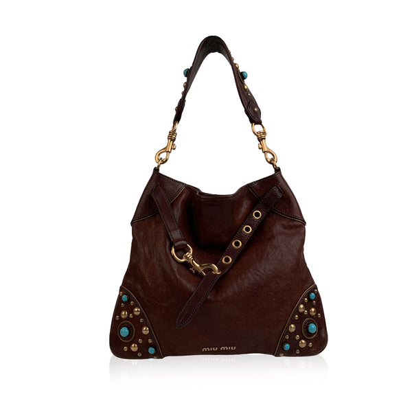 Miu Miu Brown Leather Studded Buffalo Stone Shoulder Bag Tote