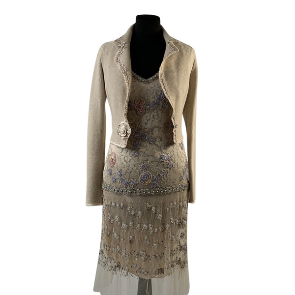 Blumarine Beige Beaded Midi Embellished Dress Set with Jacket