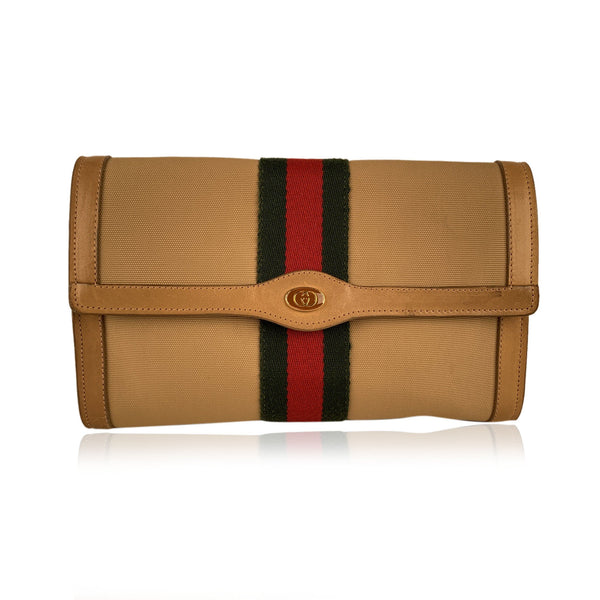 Gucci Vintage Beige Canvas Flap Messenger Bag with Stripes