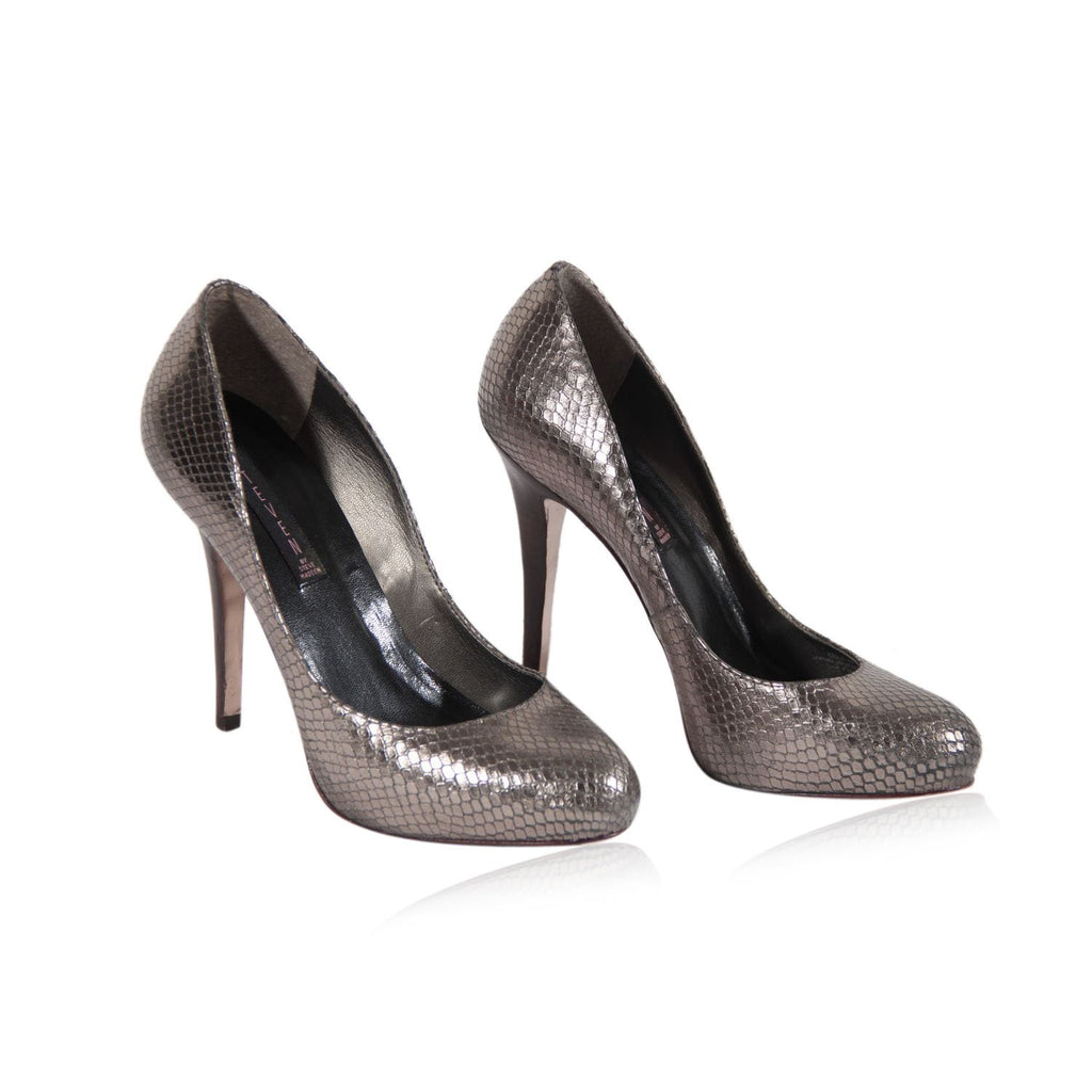 Steven by Steven Madden Silver Embossed Leather Closed Toe Shoes Pumps Heels IT 39