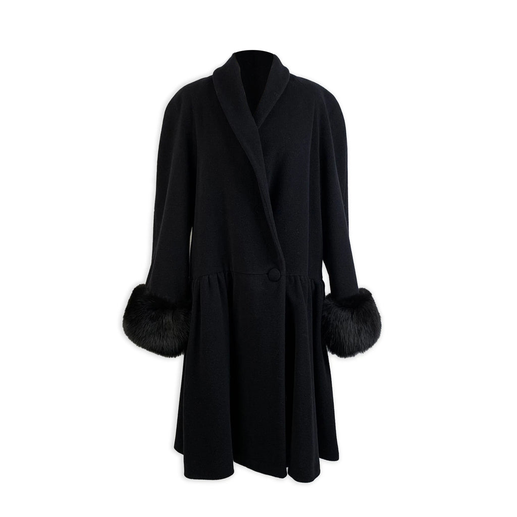 Alma Vintage Black Wool and Cashmere Coat with Fur Trim Size 44 IT