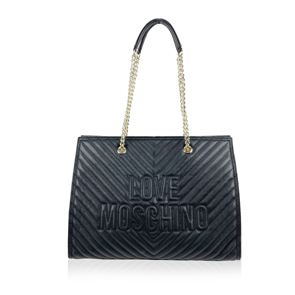 Love Moschino Black Quilled Canvas Chevron Tote Shoulder Bag