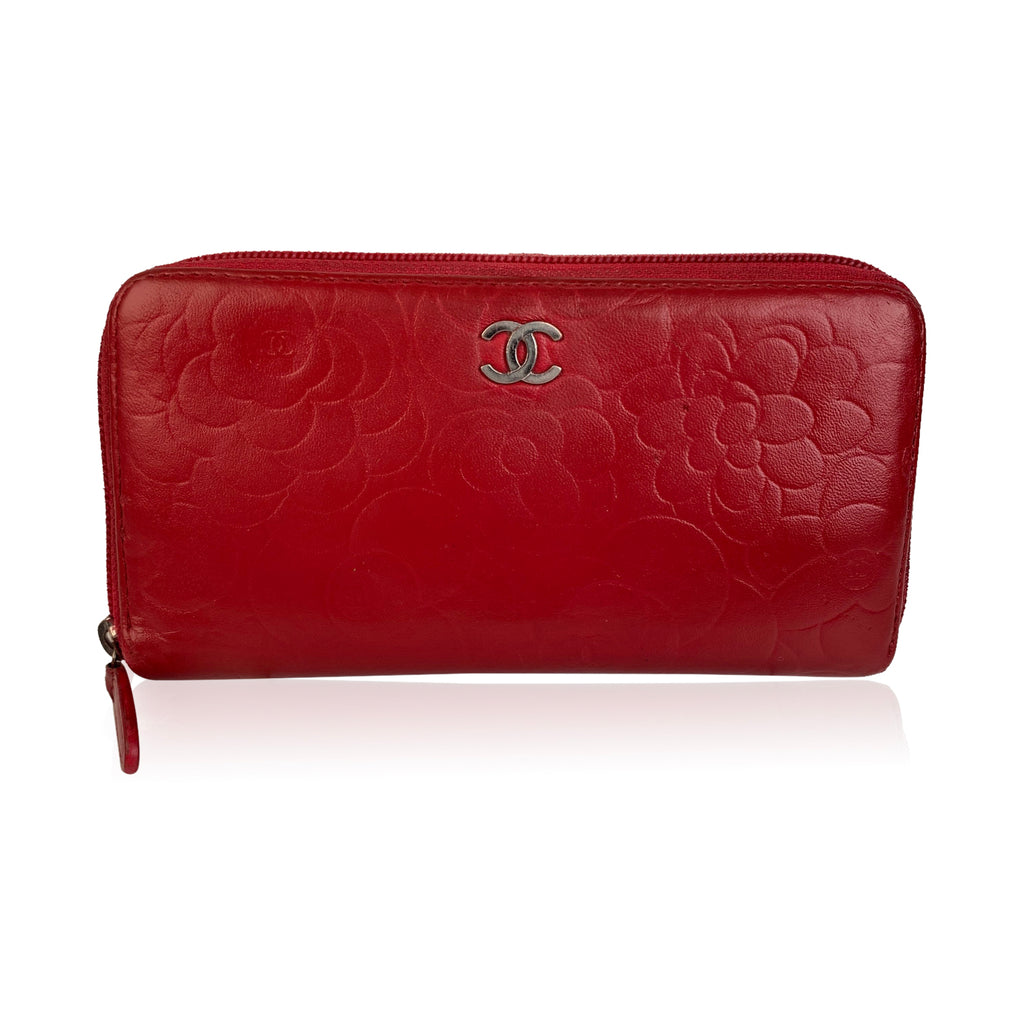 Chanel Red Embossed Leather Camellia Camelia Zip Around Wallet