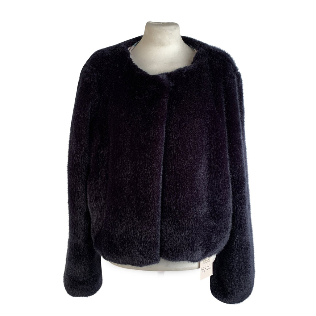 Roy Rogers Dark Blue Faux Fur Jacket Size 44 - OPHERTY & CIOCCI