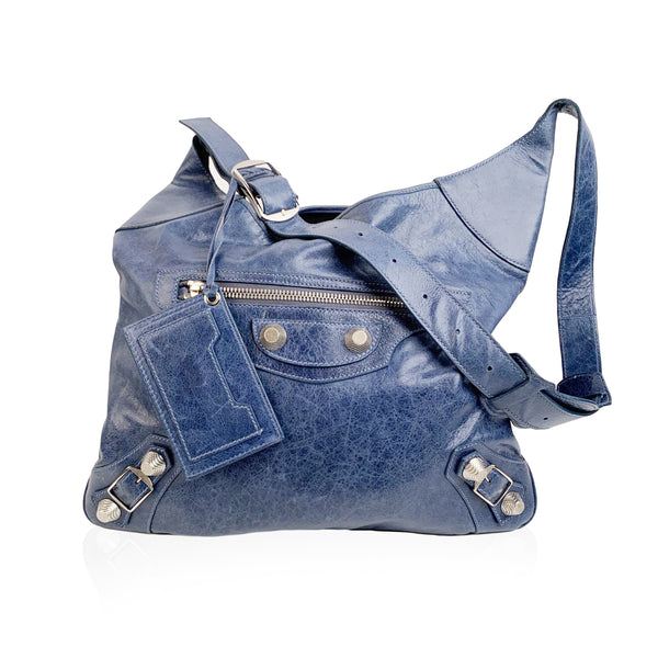 Balenciaga Blue Leather Besace Hobo Shoulder Messenger Bag