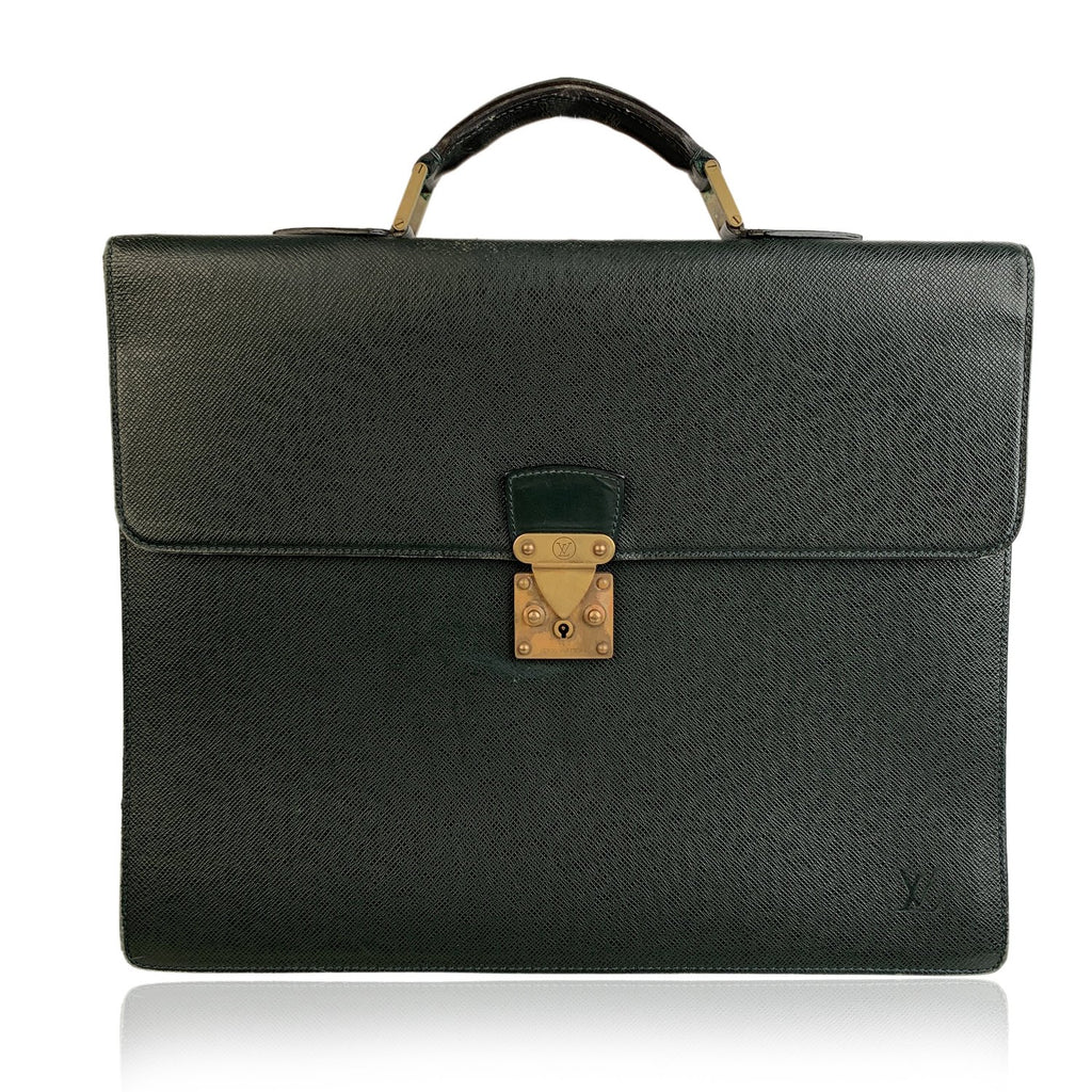 Louis Vuitton Green Taiga Leather Robusto 2 Compartments Briefcase