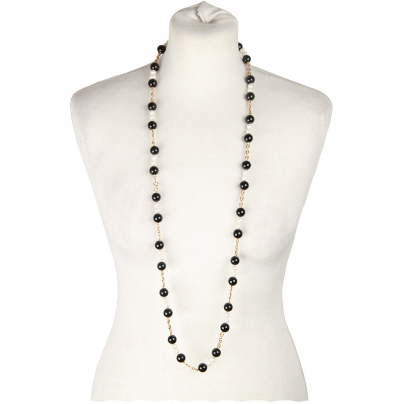 Necklace with Black Onyx and Baroque Pearls