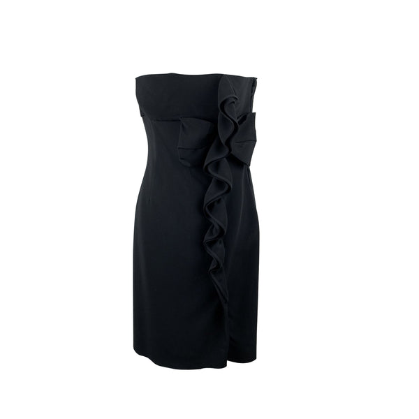 Valentino Black Bustier Sleeveless Dress with Ruffles Size S