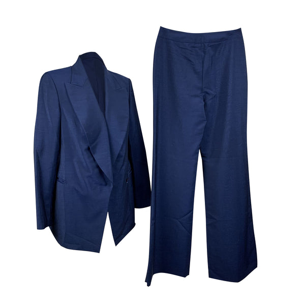 Gucci Blue Wool Pants Suit Blazer and Trousers Set Size 40 IT