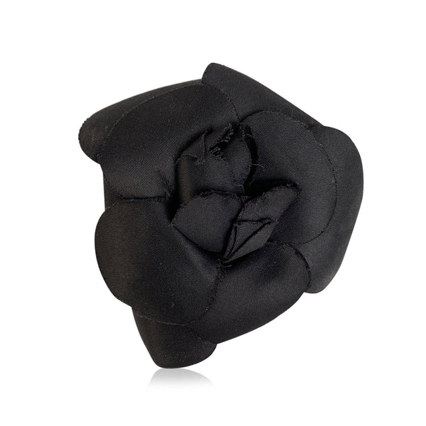 Chanel Vintage Black Camelia Camellia Flower Pin Brooch