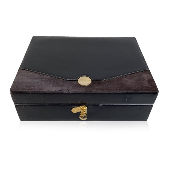 Gucci Vintage Black Leather and Suede Jewelry Case Box