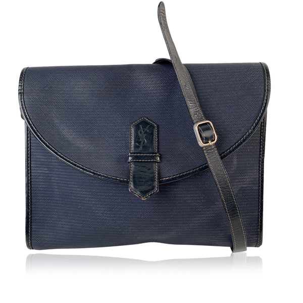 Yves Saint Laurent Vintage Navy Blue Canvas and Leather Messenger Bag