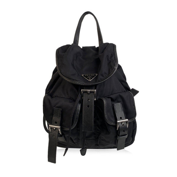 Prada Vintage Black Nylon Canvas Backpack Shoulder Bag