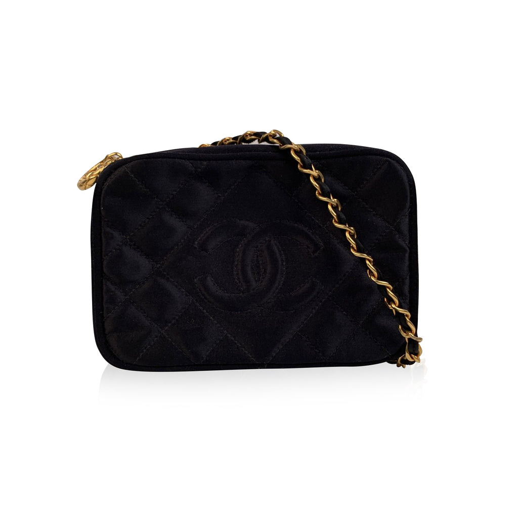Chanel Vintage Black Quilted Satin CC Logo Crossbody Camera Bag