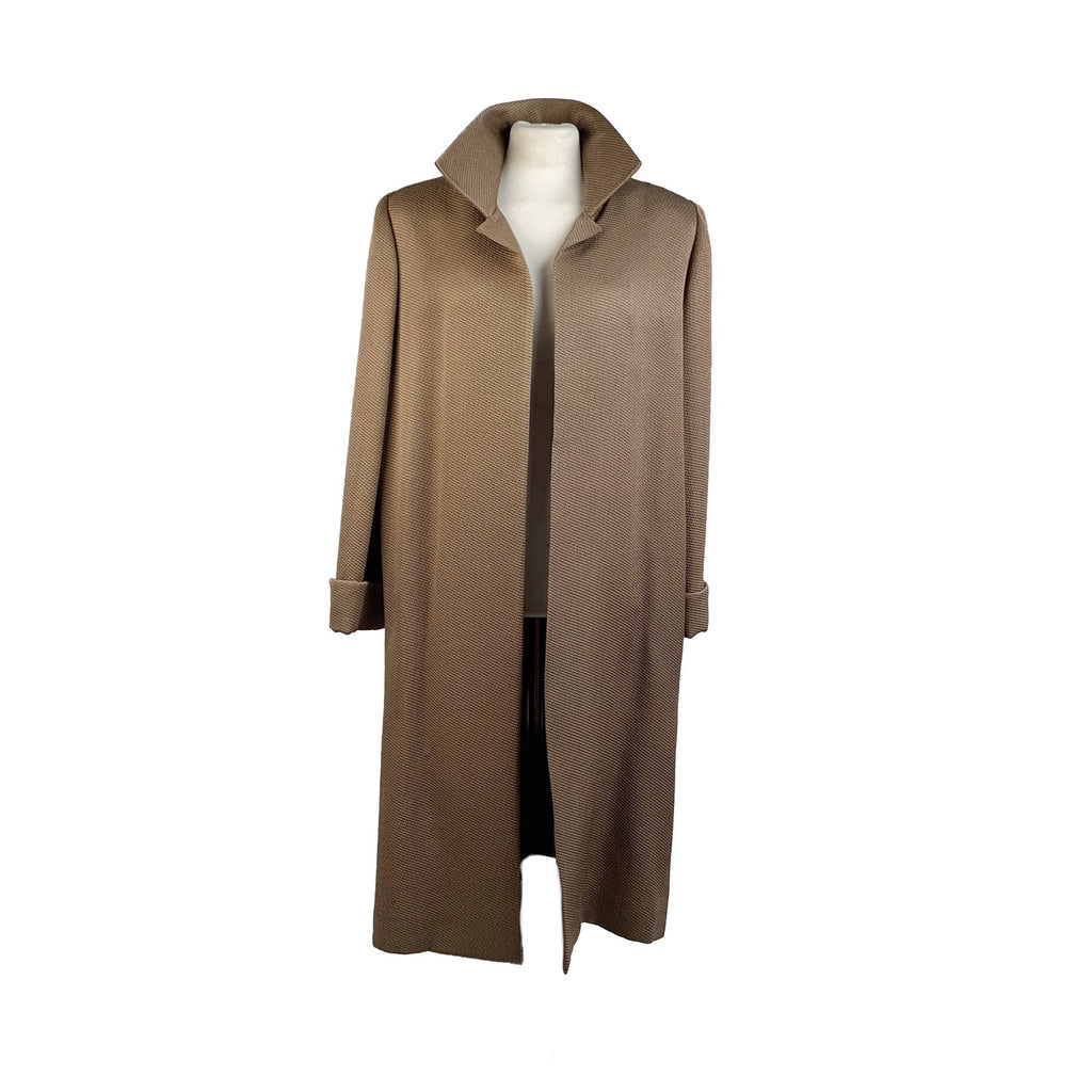 Galitzine Couture Vintage Light Brown Dustcoat Open Front Coat