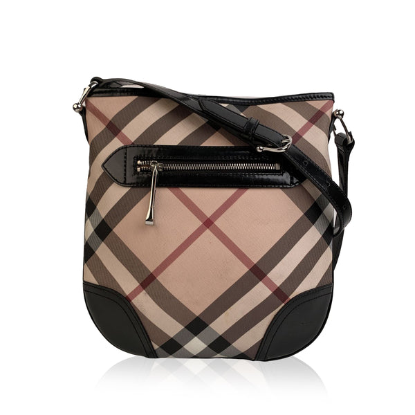 Burberry Beige and Black Nova Check Canvas Messenger Bag