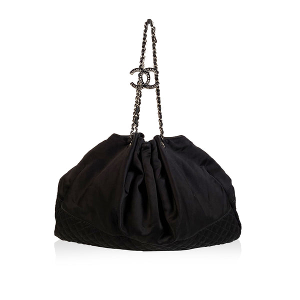 Chanel Black Satin Melrose Cabas Large Tote Hobo Shoulder Bag