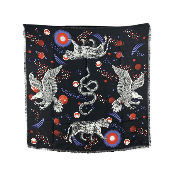 Gucci Black Silk Space Animals Print Square Scarf 90 x 90