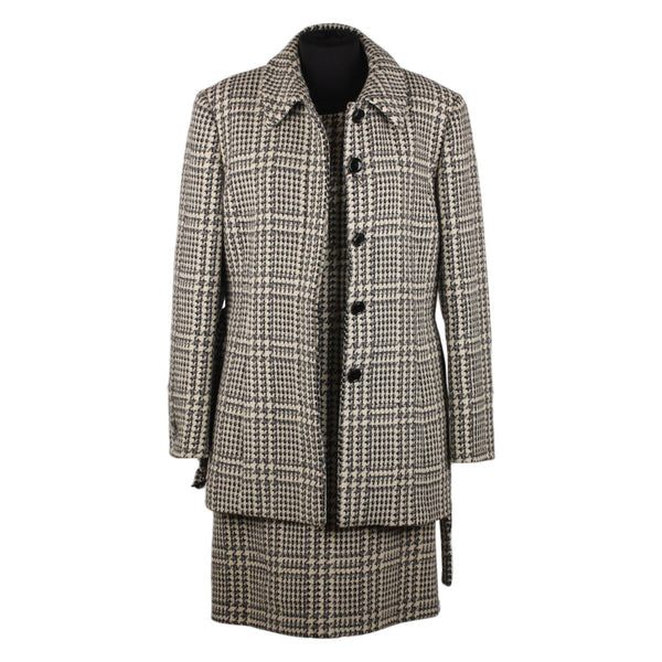 Gerani Houndstooth Wool Alpaca Shift Dress and Coat Suit Size 42 - OPHERTY & CIOCCI