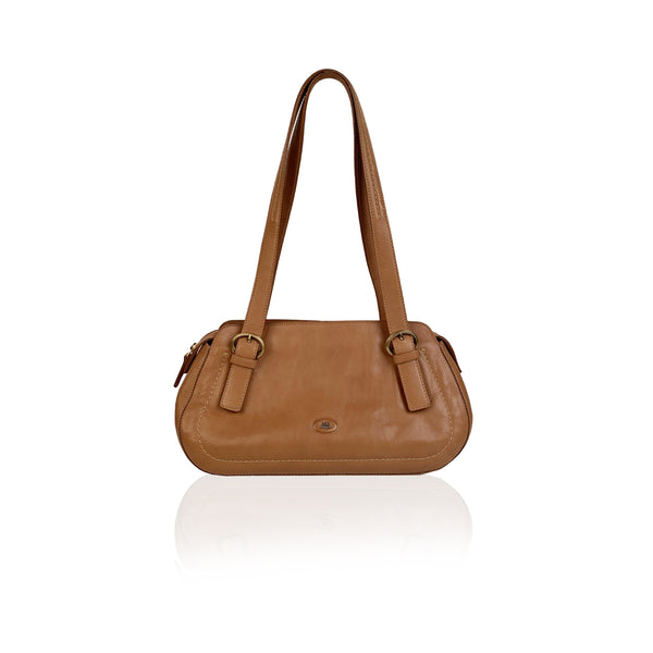 The Bridge Vintage Beige Leather Tote Shoulder Bag