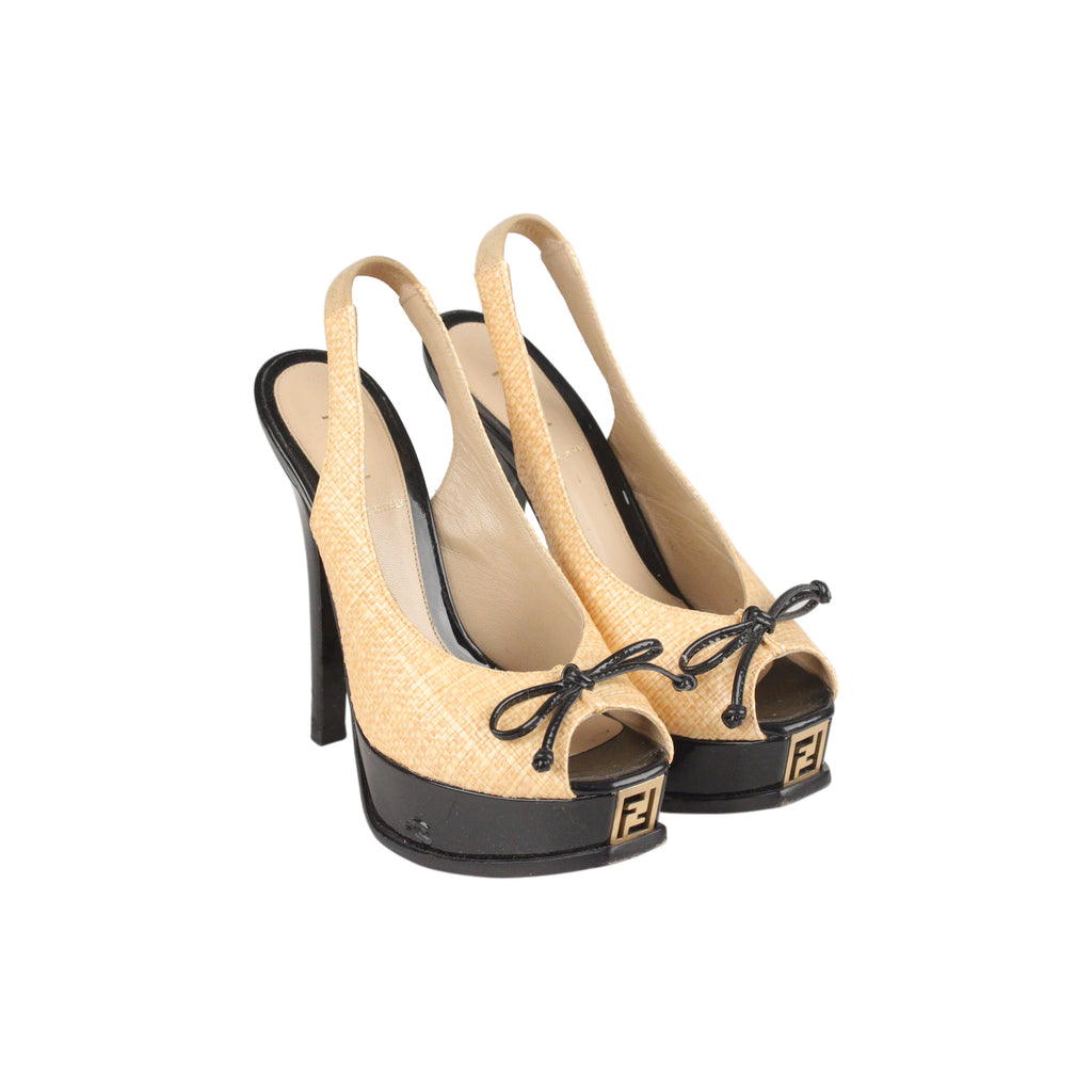 Fendi Raffia Patent Leather Slingback Pumps Heels Shoes Size 36 IT