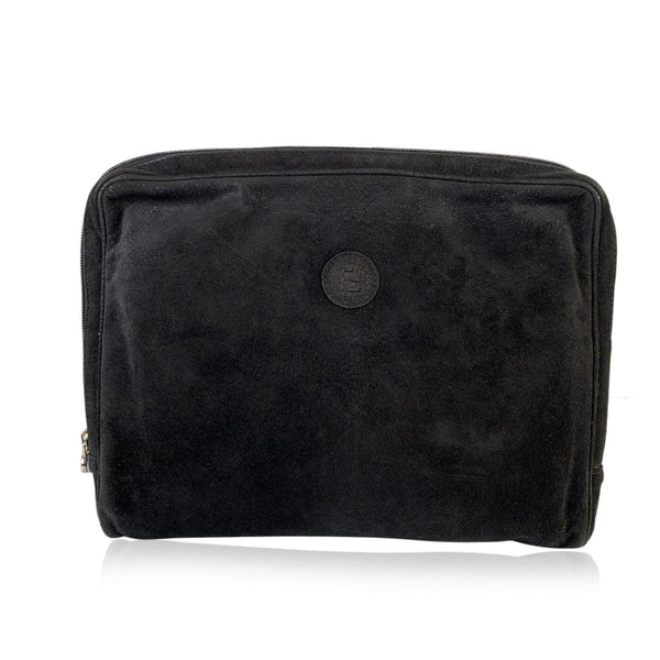 Fendi Vintage Black Suede Clutch Portfolio Zipper Bag Handbag
