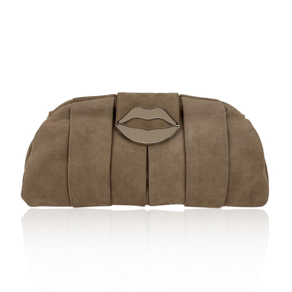 Yves Saint Laurent Pink Suede Lips Clutch Evening Bag