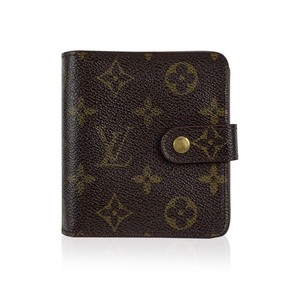 Louis Vuitton Vintage Brown Monogram Canvas Zip Compact Wallet