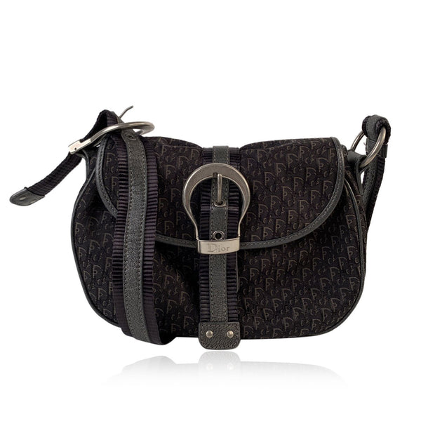 Christian Dior Black Trotter Canvas Buckle Crossbody Messenger Flap Bag