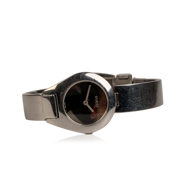 Gucci Stainless Steel 6700L Ladies Wrist Watch Bracelet Black Dial