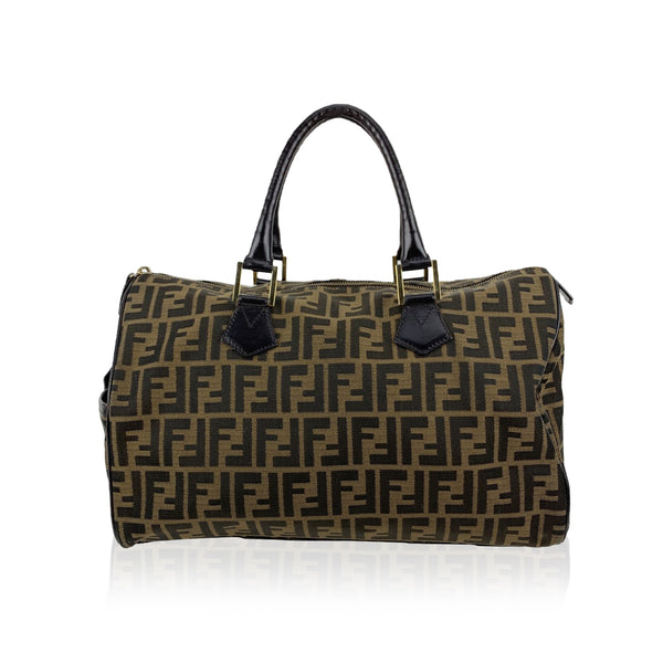 Fendi Brown Monogram Zucca Canvas Boston Bag Satchel Handbag