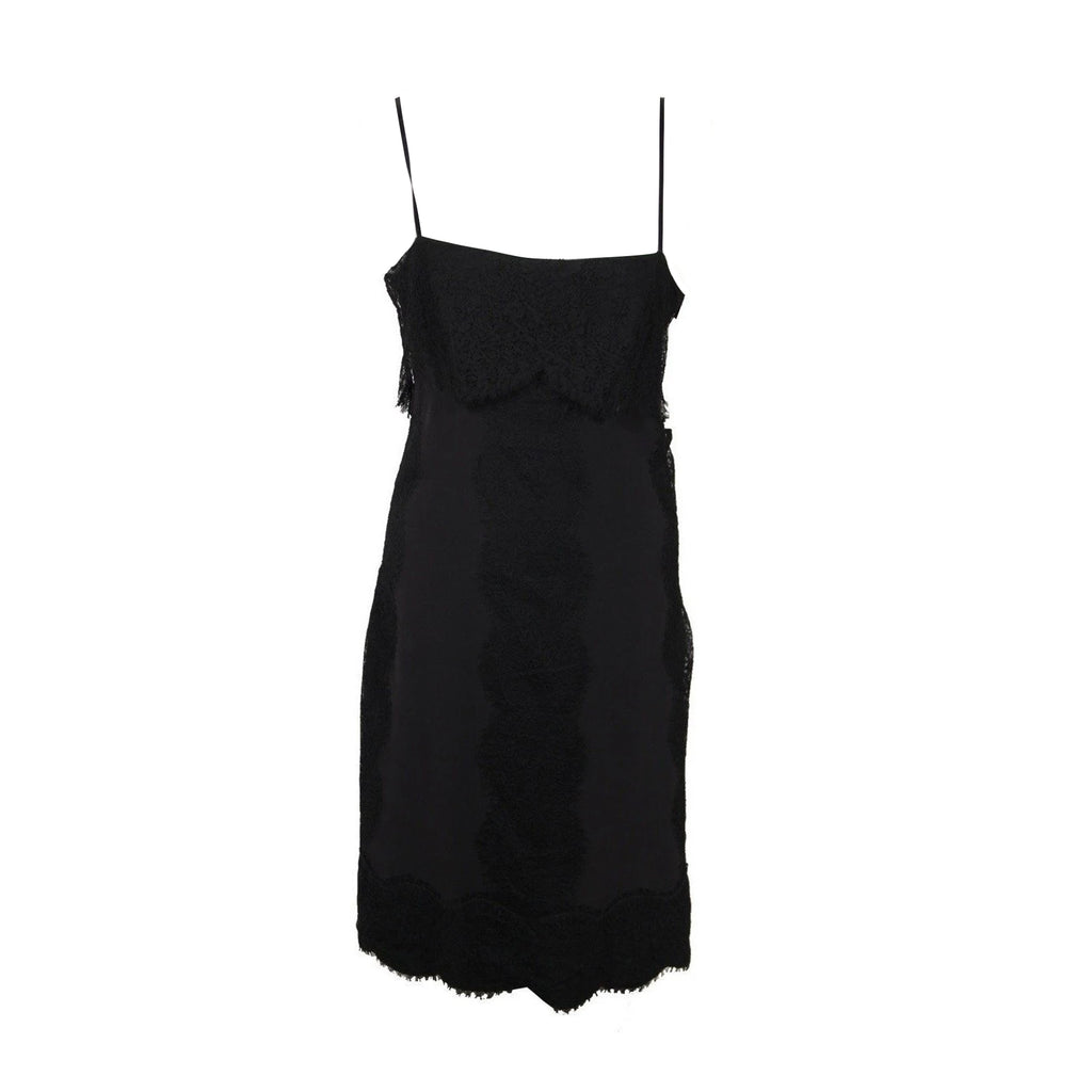 Gucci Black Silk Cami Llttle Black Dress with Lace Trim Size 42 IT