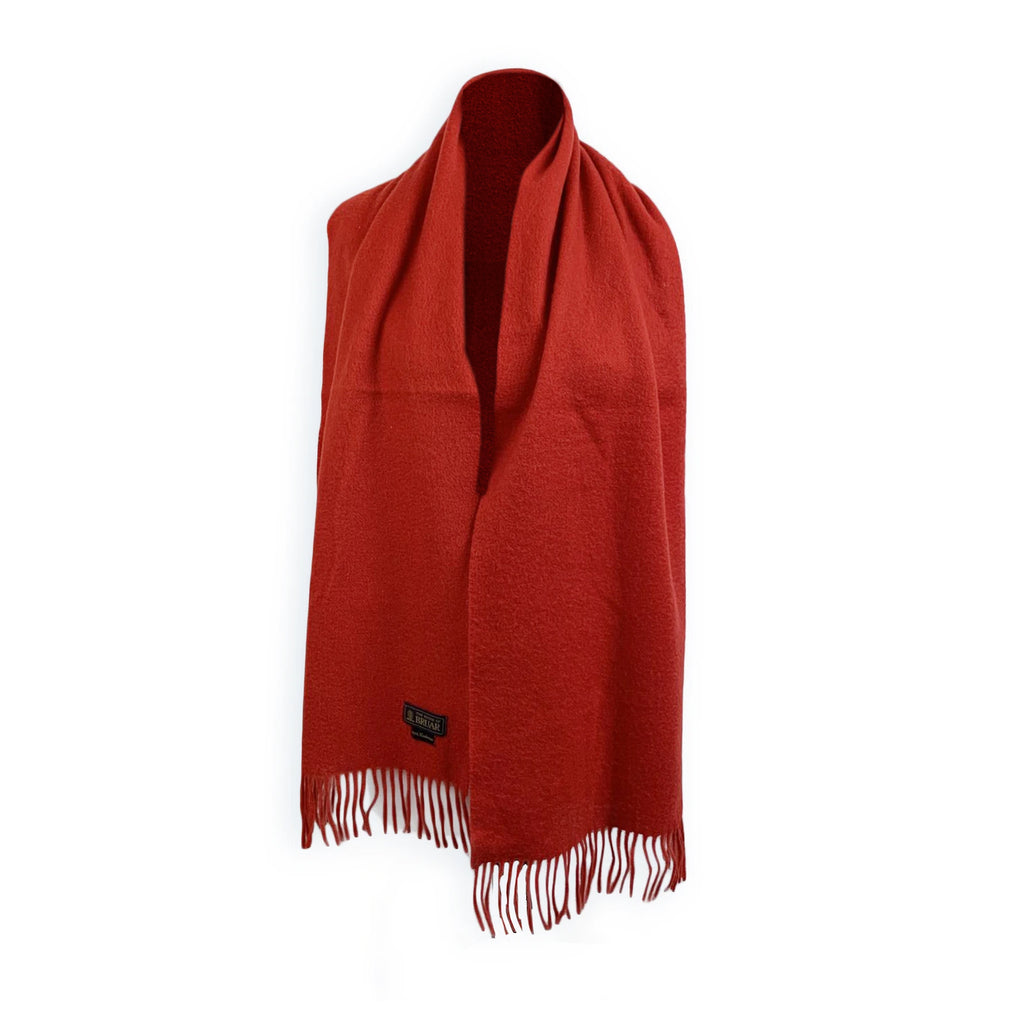 The House of Bruar Vintage Red Cashmere Fringed Scarf