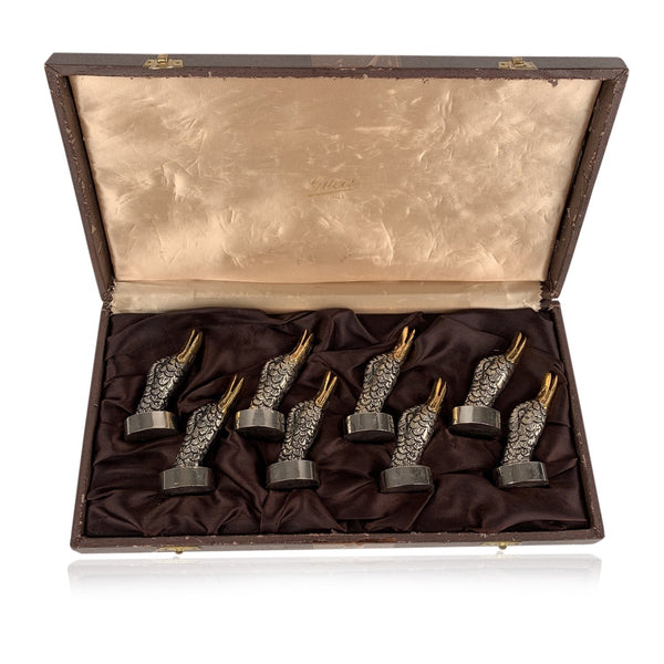 Gucci Vintage Silver Metal 8 Mallerd Duck Place Card Holders Set