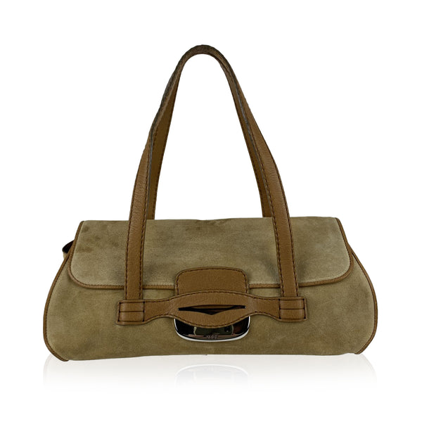 Tod's Beige Suede and Leather Baguette Shoulder Bag Tote