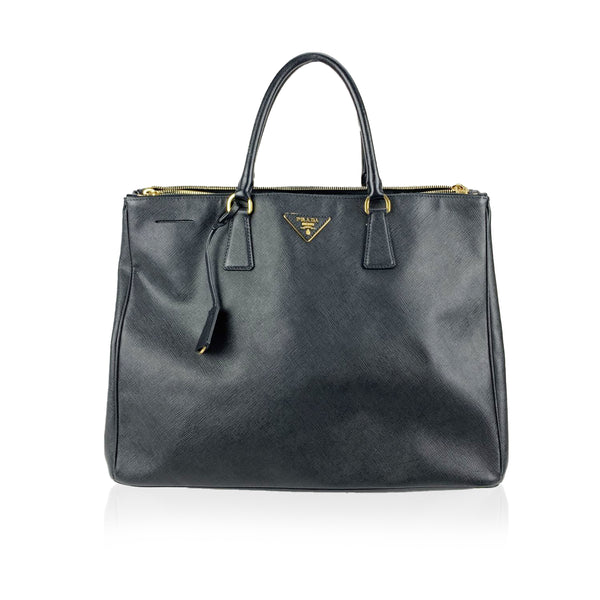 Prada Black Saffiano Lux Leather Tote Satchel Bag BN1802