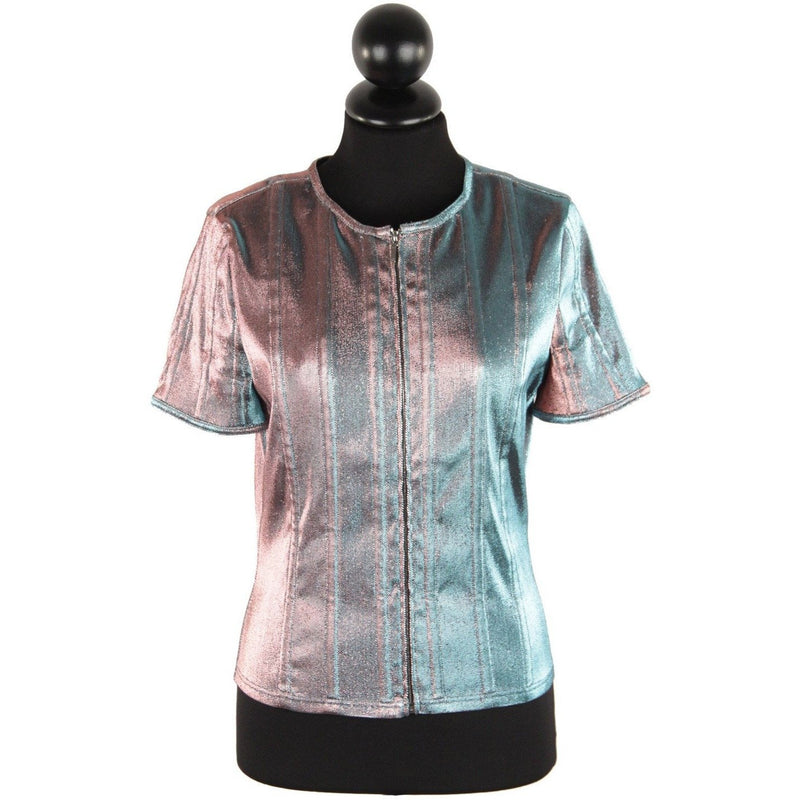 Chanel Iridescent Short Sleeve Jacket Size 40