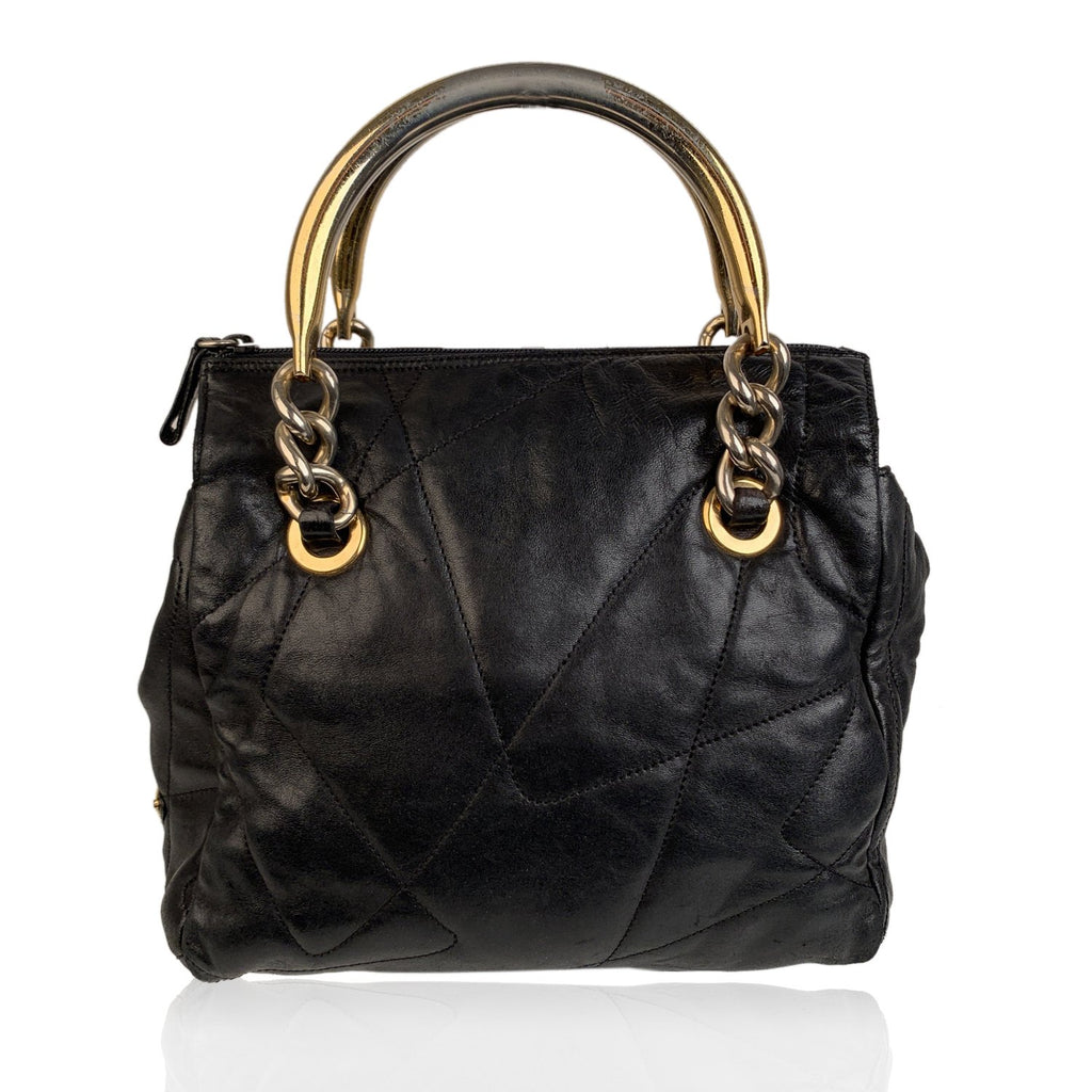 Prada Vintage Black Quilted Leather Tote with Metal Handles