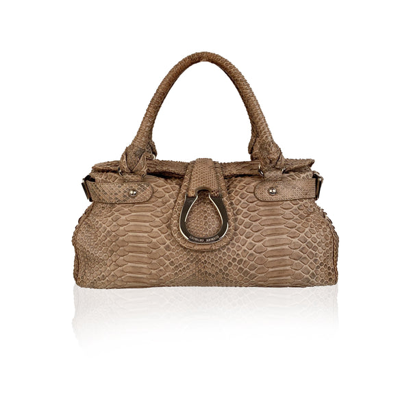 Giorgio Armani Taupe Reptile Leather Top Handles Bag Satchel