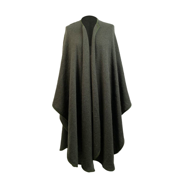 Vintage Miltary Green Wool and Mohair Shawl Cape Large Scarf