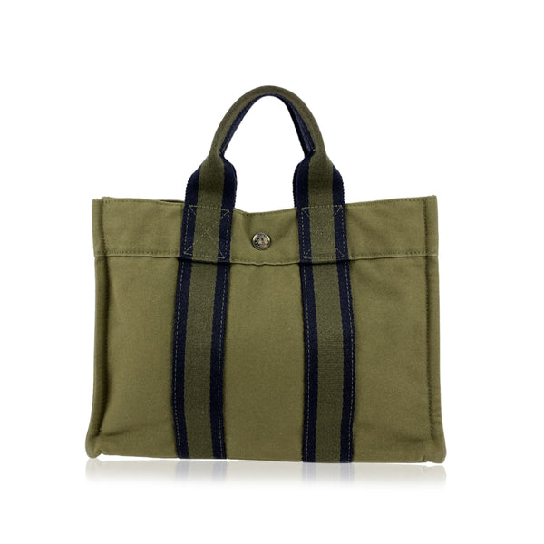 Hermes Paris Vintage Military Green Cotton Fourre Tout PM Tote Bag