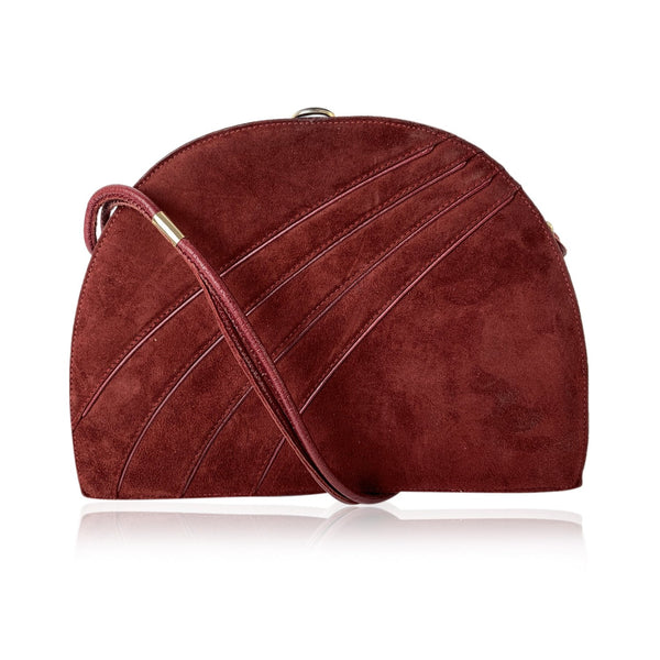 Bally Vintage Red Burgundy Suede Half Moon Shoulder Bag Frame Bag